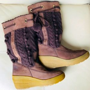 Juicy Couture Brown Suede Knit Wedge Snow Boots
